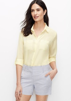 Petite Dotted Silk Camp Shirt