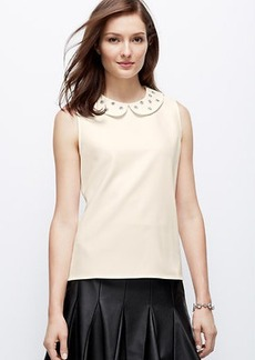 Petite Embellished Collar Crepe Shell