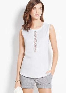 Petite Embellished Cotton Sateen Shell