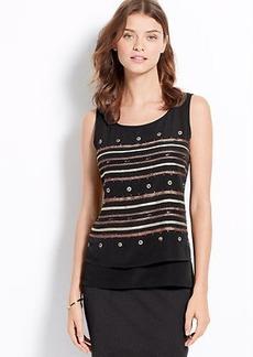 Petite Embellished Stripe Layered Shell