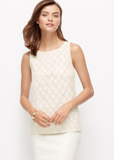 Petite Embroidered Faux Leather Shell
