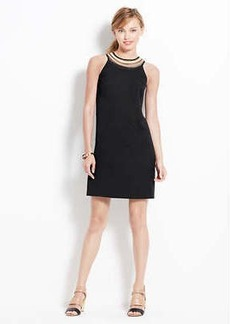 Petite Embroidered Neck Shift Dress