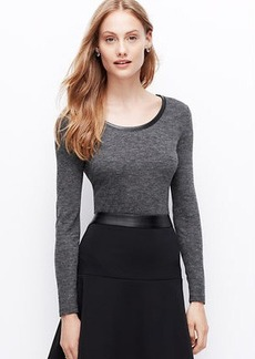Petite Faux Leather Elbow Patch Top
