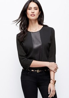 Petite Faux Leather Paneled Top