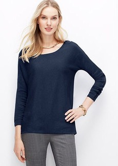 Petite Faux Leather Piped Sweater