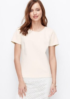 Petite Faux Leather Sleeve Lace Trim Top
