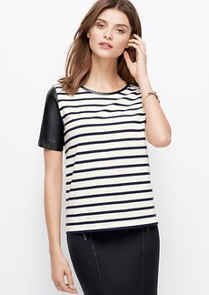 Petite Faux Leather Sleeved Striped Top