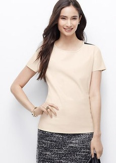 Petite Faux Leather Stretch Tee
