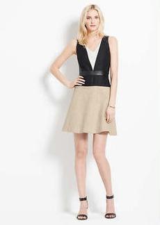Petite Faux Leather Trim Colorblock Dress