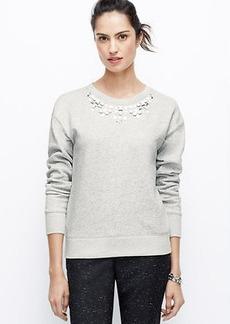 Petite Jeweled Necklace Sweatshirt