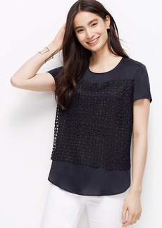 Petite Lace Front Crepe Tee