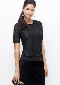 Petite Lace Overlay Top
