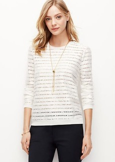 Petite Lace Striped Sweatshirt