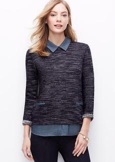 Petite Layered Tweed Top
