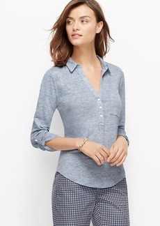 Petite Linen Roll Sleeve Shirt