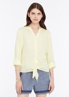 Petite Linen Tie Front Shirt