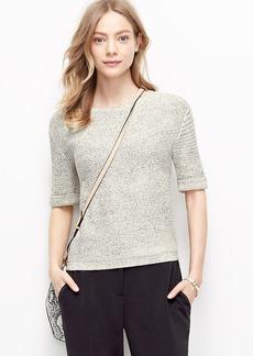 Petite Marled Short Sleeve Sweater