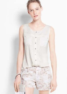 Petite Mixed Media Button Down Shell