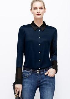 Petite Mixed Media Button Down Shirt
