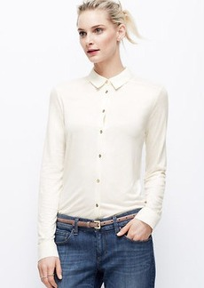 Petite Mixed Media Button Down Shirt