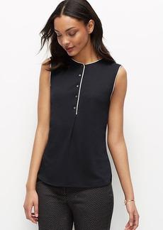 Petite Mixed Media Sleeveless Shirt
