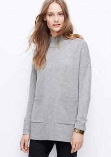 Petite Mock Neck Pocket Tunic Sweater
