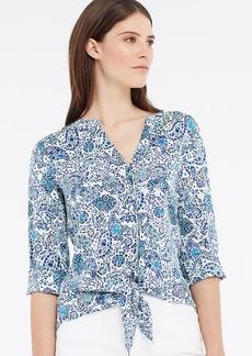 Petite Paisley Floral Tie Front Blouse