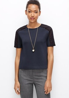 Petite Paneled Lace Sleeve Top