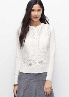 Petite Perforated Faux Leather Ann Cardigan