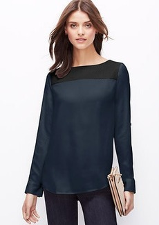 Petite Perforated Faux Leather Yoke Top