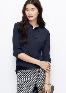 Petite Silk Popover Shirt