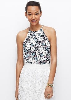 Petite Sketched Floral Pleated Halter Top