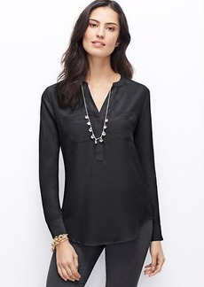 Petite Split Neck Silk Tunic