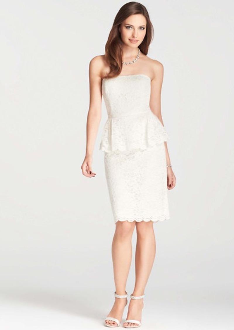 Ann taylor petite strapless lace peplum dress dresses for Robes de noce ann taylor