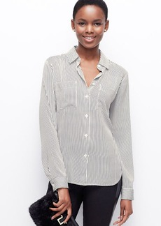 Petite Stripe Crepe Button Down Shirt