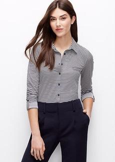Petite Stripe Jersey Button Down Shirt