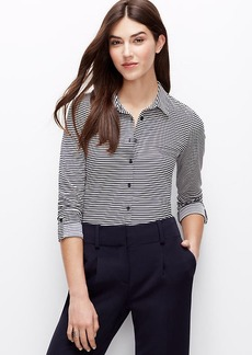 Petite Stripe Jersey Button Down Shirt