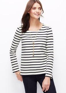 Petite Stripe Shoulder Zip Cotton Top