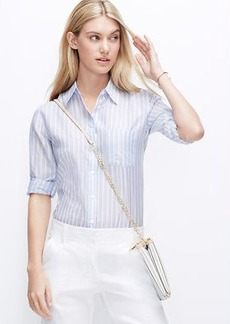 Petite Striped Boyfriend Shirt