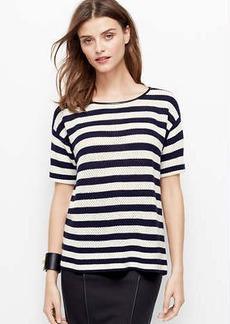 Petite Striped Button Back Sweater