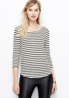 Petite Striped Cotton 3/4 Sleeve Tee
