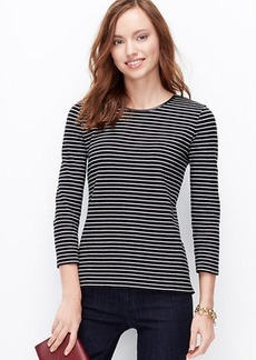 Petite Striped Faux Leather Trim Top