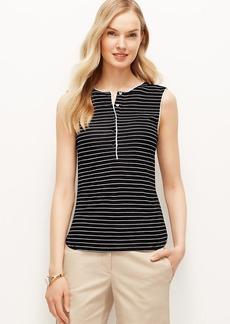 Petite Striped Mixed Media Sleeveless Shirt