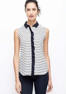 Petite Striped Ruffle Sleeveless Shirt