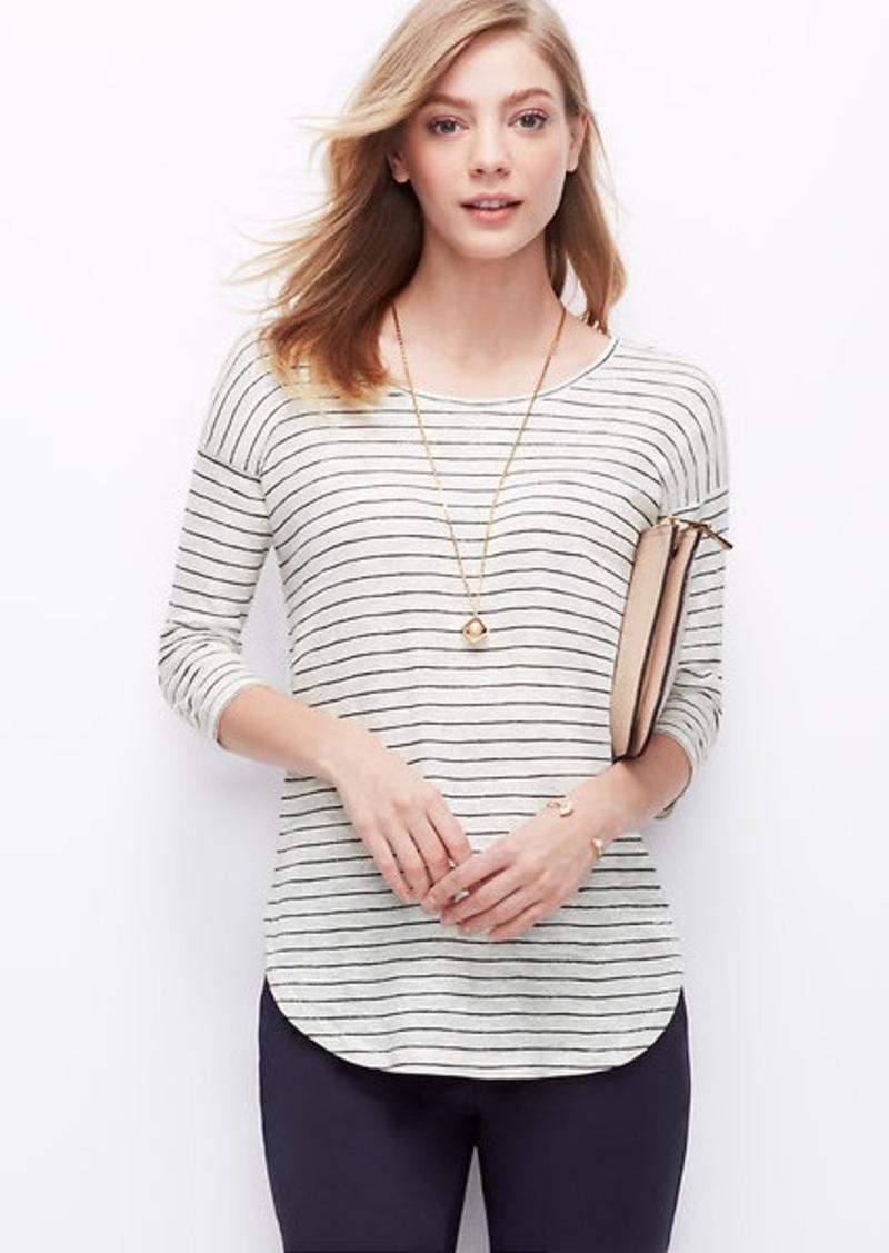 Ann taylor petite striped shirttail tee casual shirts for Petite white tee shirt