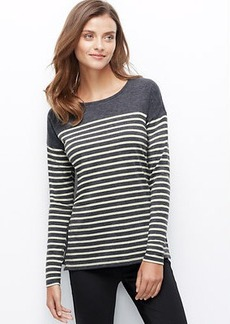 Petite Striped Side Zip Sweater