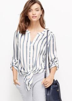 Petite Striped Tie-Front Blouse