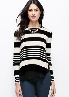 Petite Striped Two-In-One Sweater