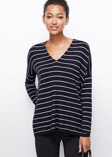 Petite Striped V-Neck Tunic Sweater