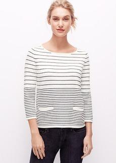 Petite Striped Welt Pocket Sweater